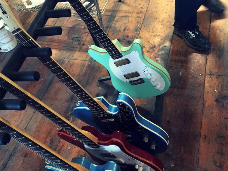 Line up of made in the U.S.A. Custom Hahn Guitars Newburgh, N.Y.