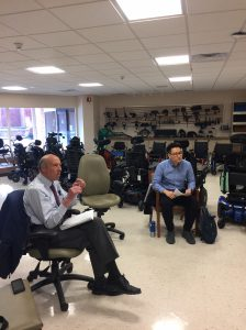 Carl Meyer of T-SEC and Min Rhee of T-SEC's 3D Print Lab at the Haverstraw Center at the Helen Hayes Hospital's Assistive Technology Department discussing ways the 3D Print Center can collaborate with Helen Hayes Hospital